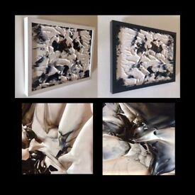 DYPTICH ABSTRACT PAINTING FRAMED ORIGINAL SIGNED
