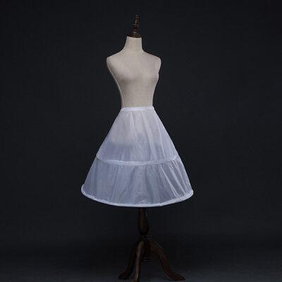 Flower Girls 2 Hoops White Underskirt Wedding Petticoat Kids Elastic Waist](Girls Petticoat)