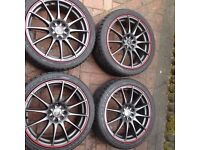 "17"" Wolfrace alloy wheels universal 4 bolt fit."