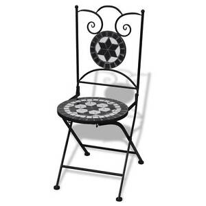Mosaic Bistro Chair Black / White Set of 2(SKU 41533) vidXL Mount Kuring-gai Hornsby Area Preview