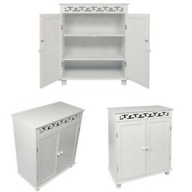White Wooden Shoe Cabinet Storage Rack Cupboard Sideboard 2 Door
