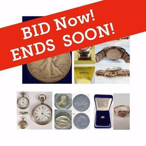 ONLINE AUCTION, Gold Coins, Silver, Banknotes, Rare Stamps, Jewellery, Watches, Luxury Items, Art, Vintage Toys