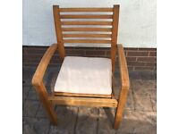 Hard wood garden chairs. X 4