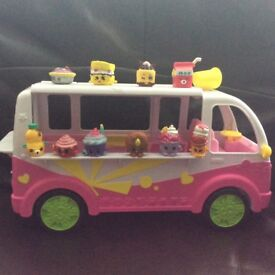 Shopkins ice cream van along with 15 shopkins in excellent condition.