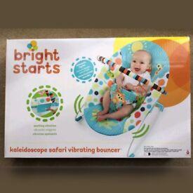 BRAND NEW Bright Starts Kaleidoscope Safari Vibrating Bouncer £15