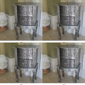 Pair of silver Embossed bedside cabinets x2