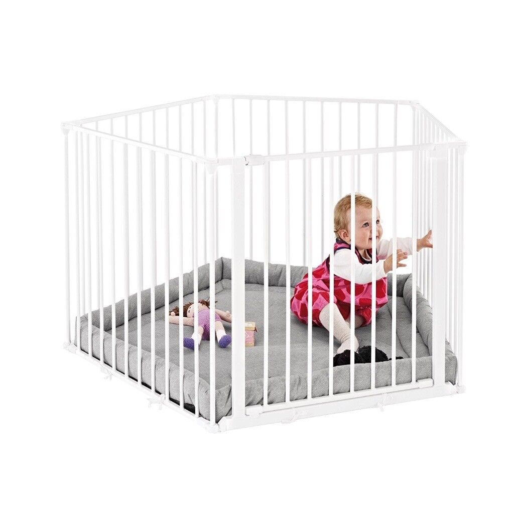 093efb507b91 Babydan Park a Kid Playpen in White with 3 extra extension pieces