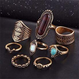 8x Tibetan Turkish Crystal Flower Knuckle Finger Rings Gift (Gold) **Brand New**