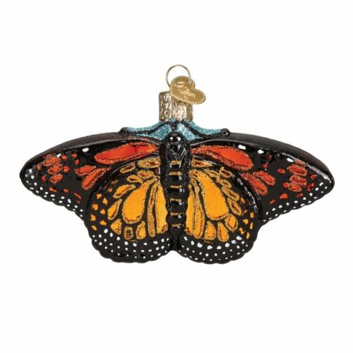 Old World Christmas MONARCH BUTTERFLY (12475)N Glass Ornament w/ OWC Box