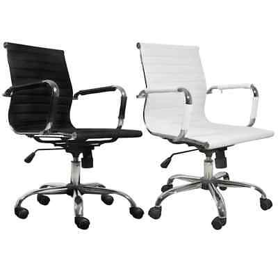 Modern Office Chair Conference Room Leather Upholstered Adjustable Whiteblack