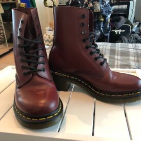 Size 4 Dr. Martens Women's Clemency Smooth Lace Ups Boots (Cherry Red)