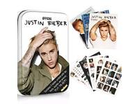 ⭐JUSTIN BIEBER TIN OF BOOKS + POSTERS AND STICKERS BRAND NEW & SEALED RRP £12.99⭐