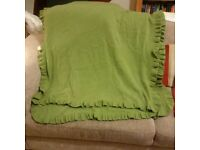 Green 100% cashmere shawl/ scarf/wrap with frilled edging