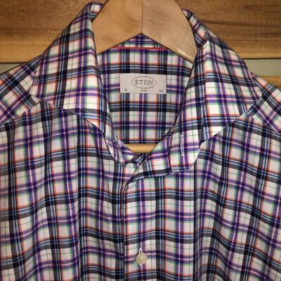 EUC Mens Eton Contemporary Plaid Checks Print Spread Collar L/S Dress Shirt 15.5