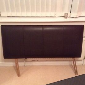 4' (small double bed) faux leather brown headboard - FOR SALE - Excellent condition no marks