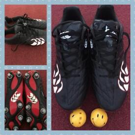 Football boots, size 7 with stay fresh balls
