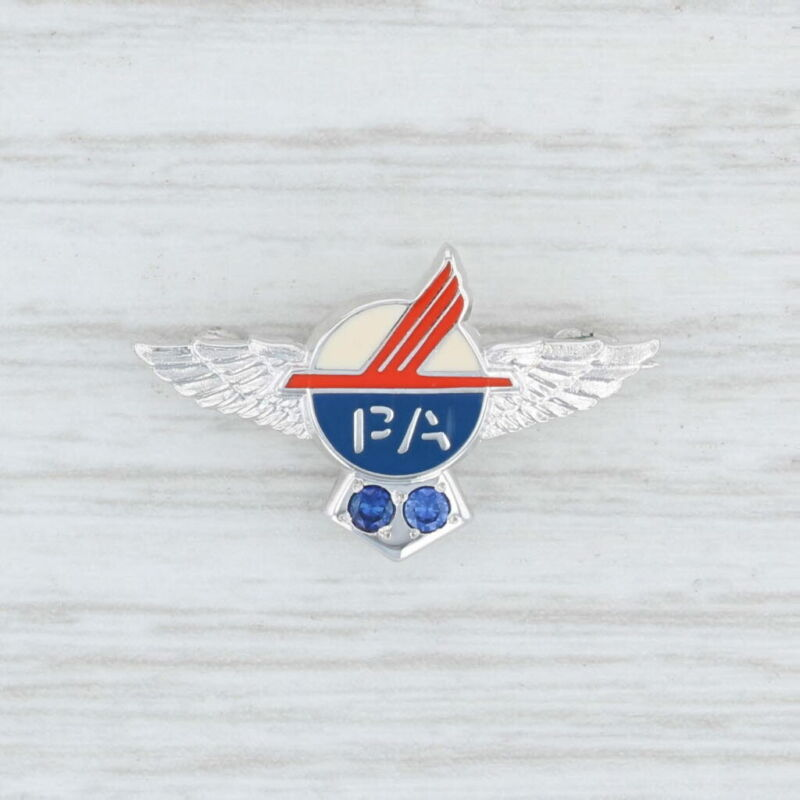 Piedmont Airlines Pin 10k Gold Synthetic Sapphires Service Winged Lapel