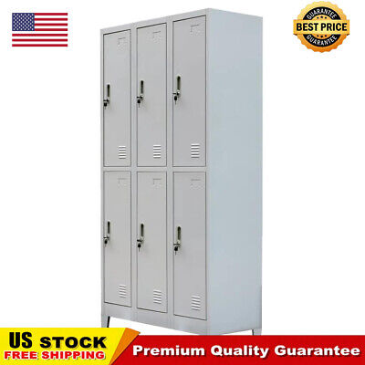 School Office Locker Cabinet With 6 Compartments Steel 35.4x17.7x70.9 Gray