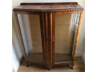 Walnut veneer display cabinet