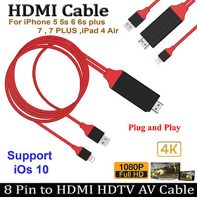 8 Pin Lightning to HDMI HDTV AV Cable Adapter for iPhone 7 7 Plus 6s 6 Plus 5s