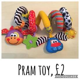 Assorted baby toys and accessories