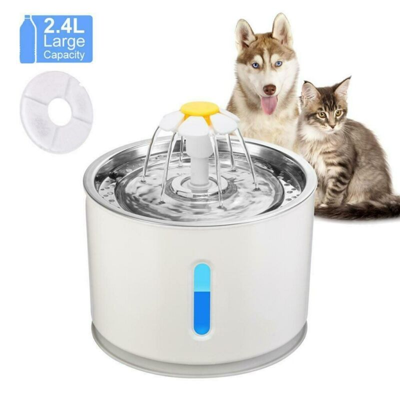 Electric Automatic 2.4L Dog Cat Mute Water Fountain Pet Bowl Drinking Filter NEW - $27.85