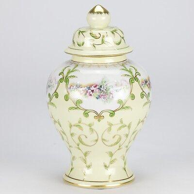 "NEW European antique yellow hand painted Temple jar vase rose vintage 25cm 10"""