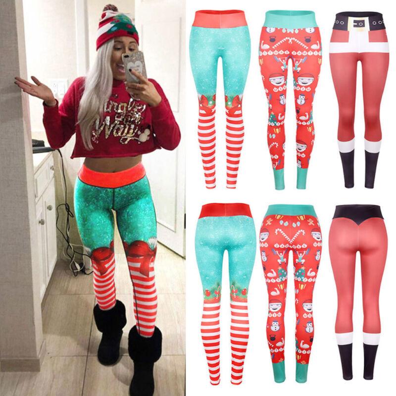 Christmas Xmas Womens Yoga Gym Sport Leggings Run Fitness Pants Workout Trouser