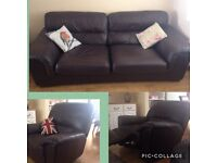M&S large leather sofa + reclining chair