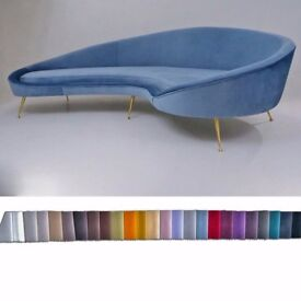 Ico Parisi sofa 1950`s style in new velvet upholstery, Italian