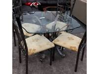 Industrial Style Metal Glass Topped Dining Table And 4 Chairs