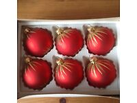 Christmas Baubles Red & Gold, immaculate condition!
