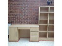 Desk and shelving - dismantled wooden desk, cupboard and shelving unit (Sharpes).