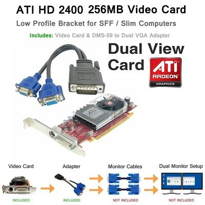 ATI Radeon SFF Low Profile Dual Monitor Video Card 256MB DDR2 PCI-E x16 VGA HD