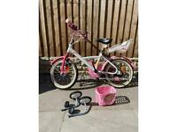 "BTWIN kilo Princess Children's 16""Bike -White pink"