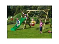NEW Heavy Strong Wooden Swing + Slide