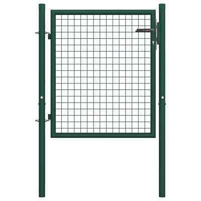 vidaXL Fence Gate Steel 100x75cm Green Garden Patio Entrance Fencing Panels