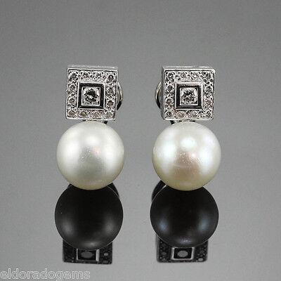 1.0 CT. DIAMOND & 12 MM SOUTH SEA PEARL HIGH END PIERCED EARRINGS 18K WHITE GOLD Designer South Sea Earrings
