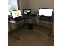 2 Corner Glass Computer Desks