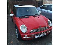 Mini Cooper 1.6 Hatchback 3 door, petrol, manual, RED, panoramic roof, A/C, MOT exp.10/17,