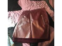 Burgundy leather skirt