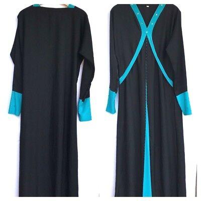 Womens Maxi Dress L/XL Black Teal Embellished Long Sleeve Halloween Costume  - Women Halloween Costumes