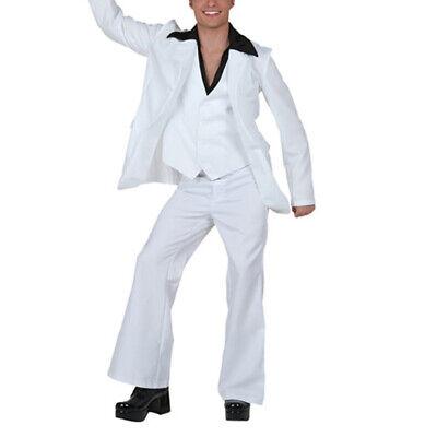 Saturday Night Fever White Suit (3 Pieces Retro Men White Suit Costume 60s 70s Saturday Night Fever)