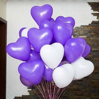 10 Lila und 10 weiße Herzballons Herzluftballon Herzluftballons Hochzeit ()