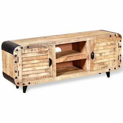 Solid Wood Tv Stand - vidaXL Solid Rough Mango Wood TV Side Cabinet Stand Unit Entertainment Center