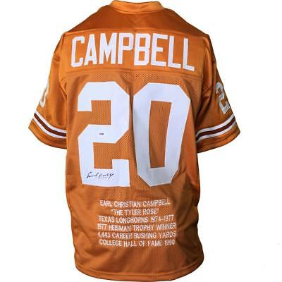 EARL CAMPBELL Signed/Auto Autographed JERSEY TEXAS ORANGE STAT PSA/DNA
