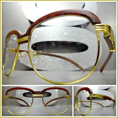 Mens CLASSY 70s Retro Style Clear Lens EYE GLASSES Gold & Faux Wood Wooden (70s Style Glasses Frames)