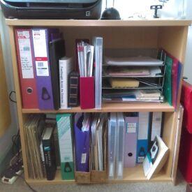 Small bookcase, beech veneer, vgc, deep shelves.