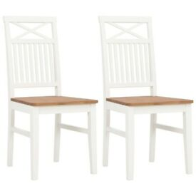Dining Chairs 2 pcs White Solid Oak Wood-247842