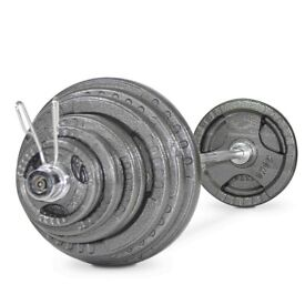 Brand New 130kg Olympic Tri Grip Cast Iron Weights Set - Barbell Gym